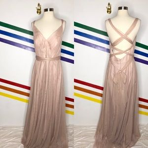 NEW Wtoo by Watters blush tulle tie back gown